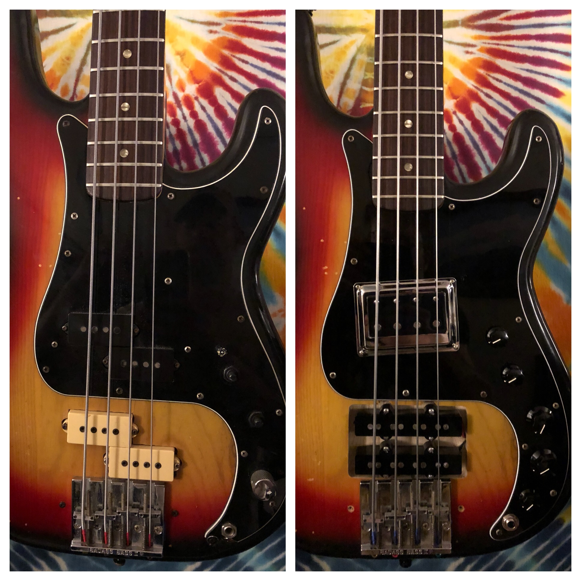 "Before and after photos of Jeff's ""Tractor"" bass"