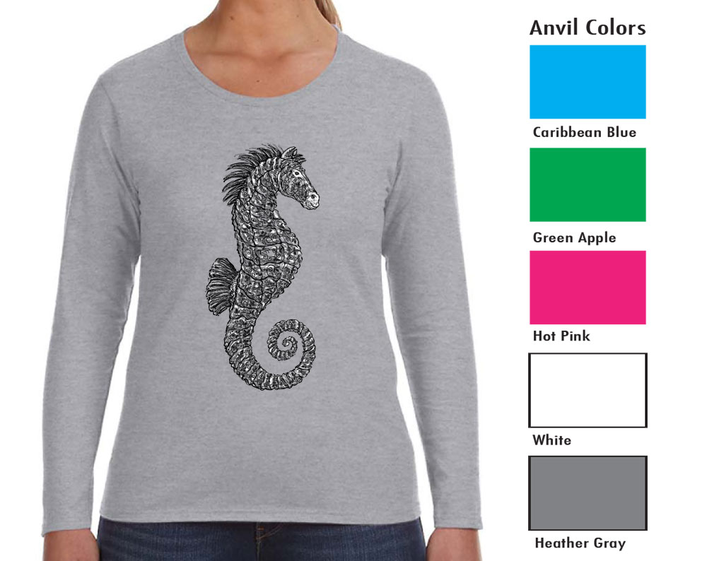 Anvil 884L Women's Long Sleeve T  SM-XL 11.00  XXL 13.00  Semi-fitted contoured silhouette with side seam. Double-needle sleeve and bottom hem. TearAway label.  4.5 ounce 100% combed ring spun cotton.