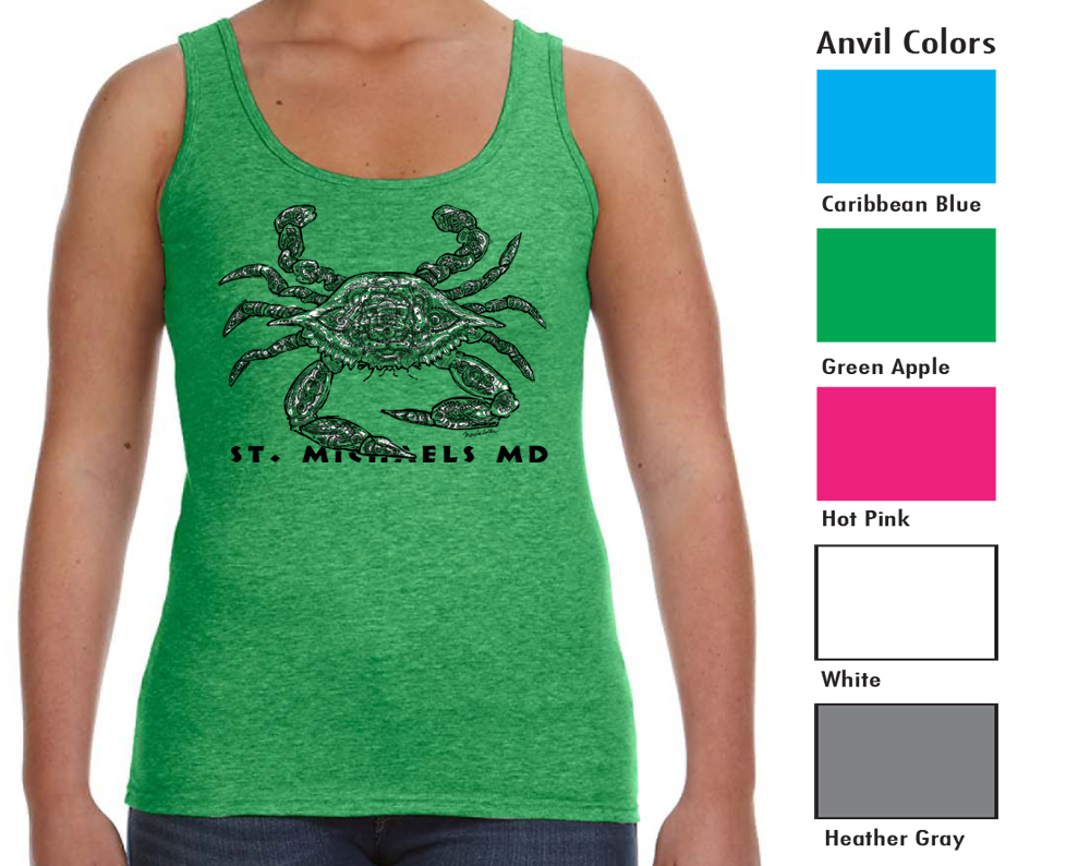 Anvil 882L Women's Tank  SM-XL 8.00   XXL 10.00  Anvil® Women's 4.5 Ounce Lightweight Tank. Semi-fitted contoured silhouette with side seam. Bound rib trim neck and armholes. Double needle bottom hem. TearAway label. 4.5 ounce, 100% pre-shrunk combed ring spun cotton.