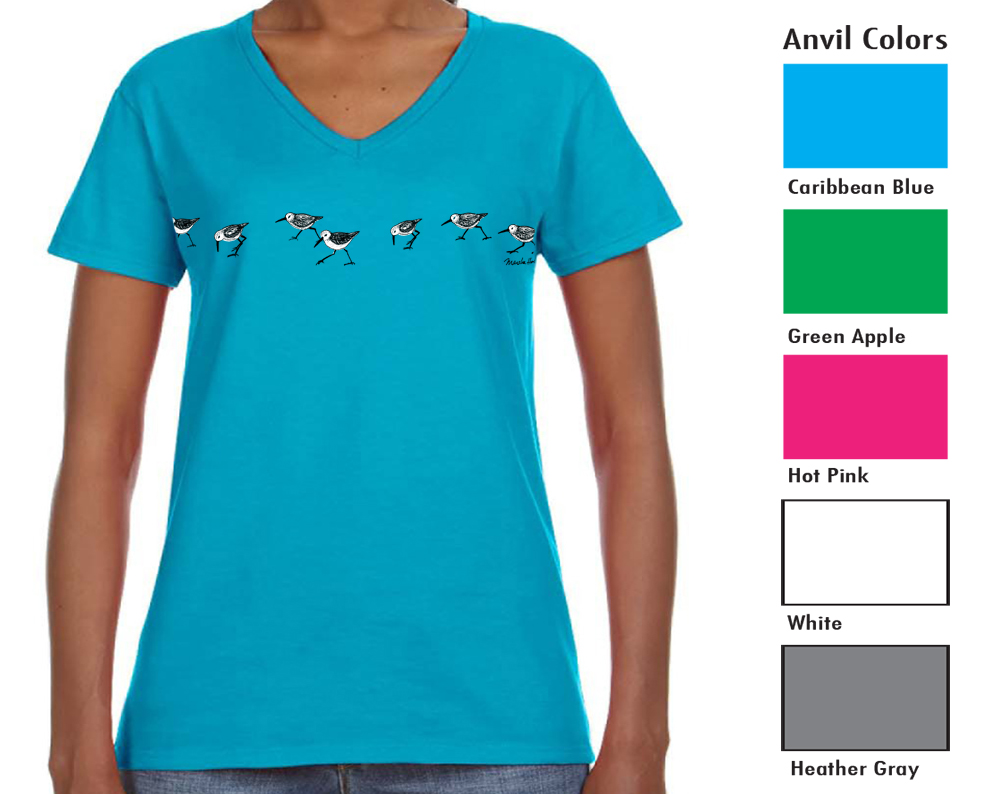 """Anvil 88VL Women's V-neck  SM-XL 9.00  XXL-11.00  Anvil® Women's 4.5 Ounce Lightweight V-Neck T-Shirt. Semi-fitted contoured silhouette with side seam. ½"""" rib V-neck collar. TearAway label. 4.5 ounce fabric. 100% pre-shrunk ring spun cotton"""