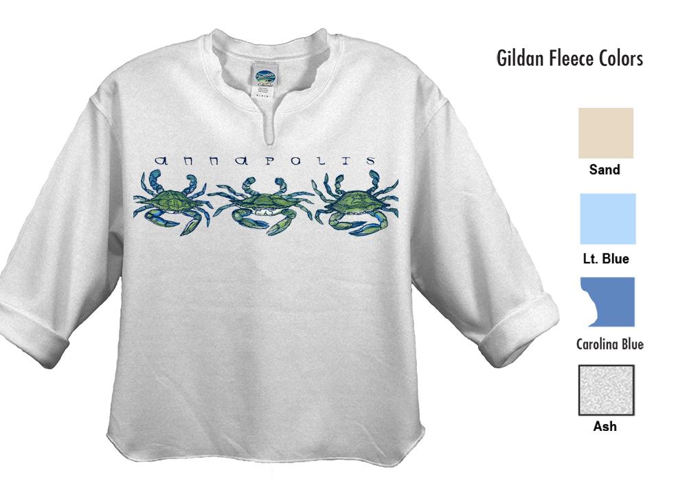 Marsha's Collection Trim Fleece  SM-XL 19.00  XXL 21.00  50% cotton/50% polyester preshrunk fleece knit, 8 oz. fabric with set-in sleeves. Open shirt tail hem, cuffed 3/4 sleeves, Keyhole notched collar.  Standard Crew Neckline: SM-XL 17.50  XXL 19.50