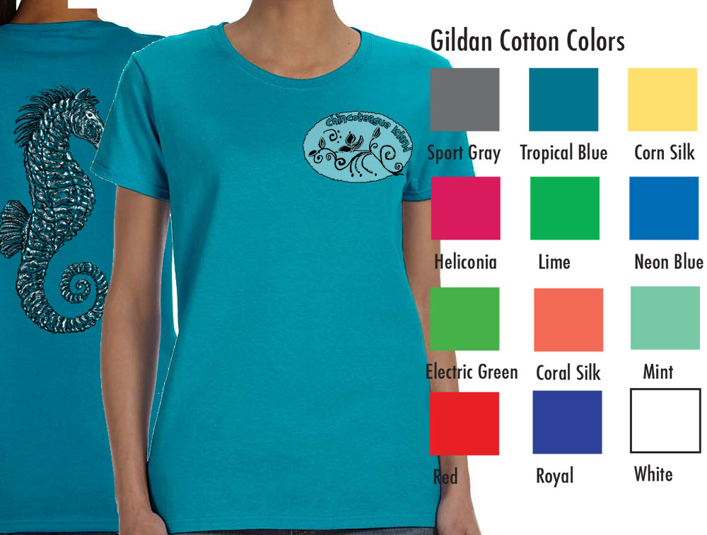 "Gildan 5000L Women's Basic T  SM-XL 8.50   XXL 10.50  Gildan® Ladies' 5.3 Ounce Heavy Cotton™ T-Shirt. Cap sleeves for comfort and side seam with semi-fitted contoured silhouette. 5.3 oz., 100% cotton preshrunk jersey knit fabric, seamless double needle ½"" rib collar. Tearaway label."