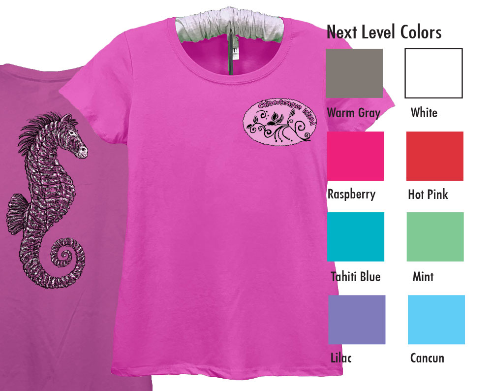 Next Level Ideal T  SM-XL 8.50   XXL 10.50  Next Level Ladies 4.0 Ounce Ideal Crewneck T-Shirt. Soft, Breathable Lightweight 60/40% Cotton/Poly 4.0 Ounce Fabric. Set-In Collar 1x1 Baby Rib With Front Cover Stitch. Tear away Label.