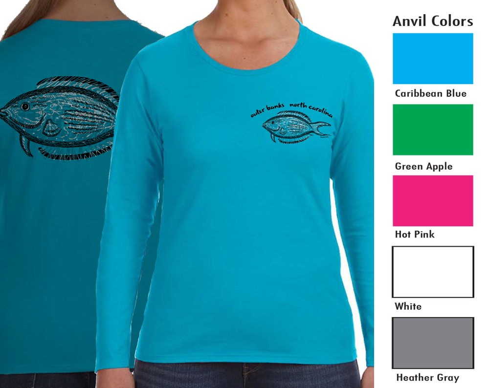 Anvil 884L Women's Long Sleeve T  SM-XL 12.00   XXL 14.00  Semi-fitted contoured silhouette with side seam. Double-needle sleeve and bottom hem. TearAway label.   4.5 ounce 100% combed ring spun cotton.