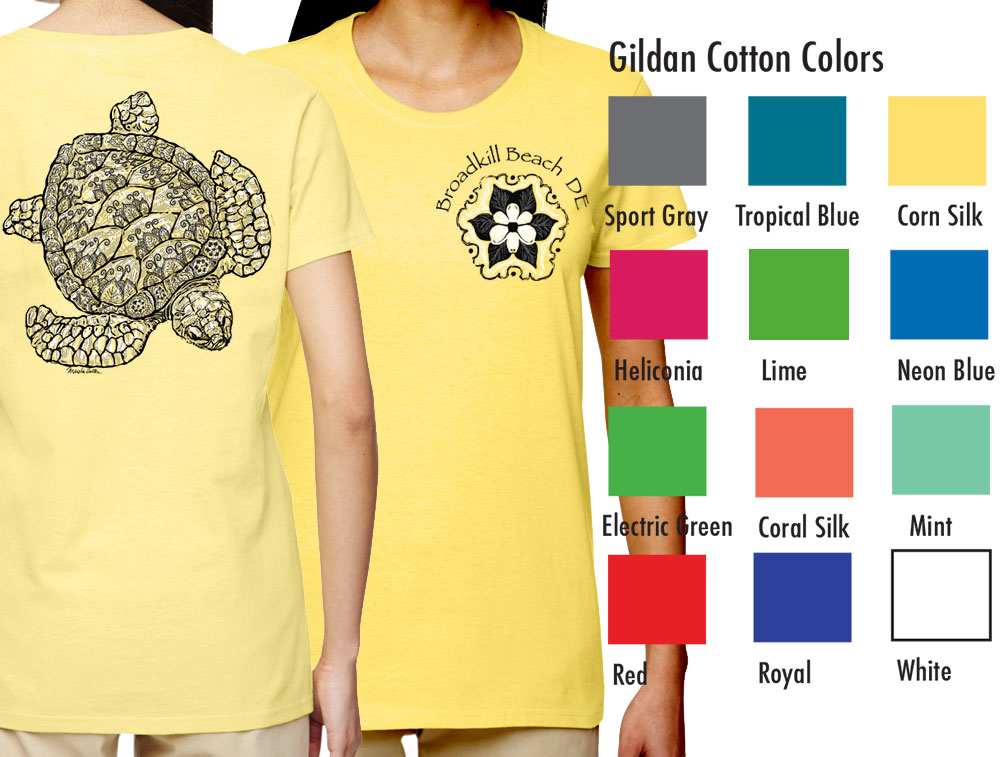 """Gildan 5000L Women's Basic T  SM-XL 8.50  XXL 10.50  Gildan® Ladies' 5.3 Ounce Heavy Cotton™ T-Shirt. Cap sleeves for comfort and side seam with semi-fitted contoured silhouette. 5.3 oz., 100% cotton preshrunk jersey knit fabric, seamless double needle ½"""" rib collar. Tearaway label."""