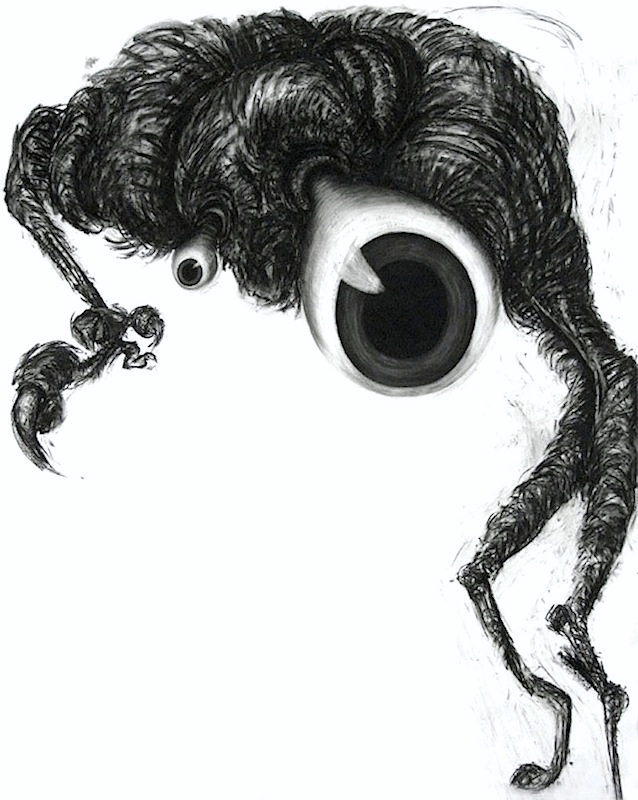 The Observer - Charcoal on Paper Cut Out12 x 8