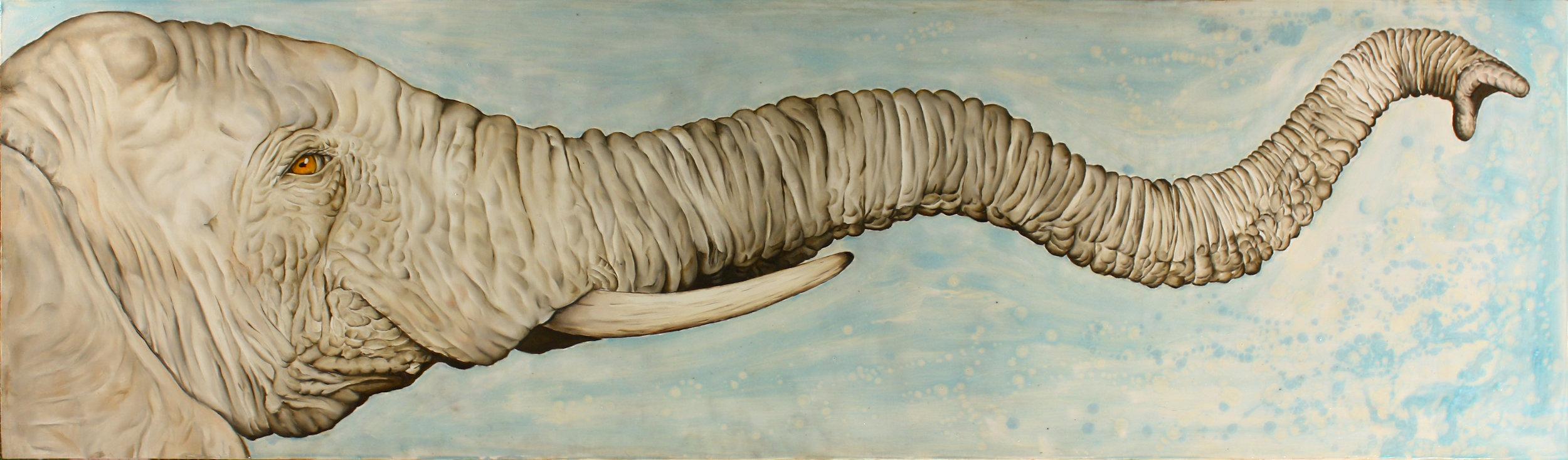 James Russell May - ElephantOil & Polymer Emulsion on Wood18 x 16www.jamesrussellmay.com