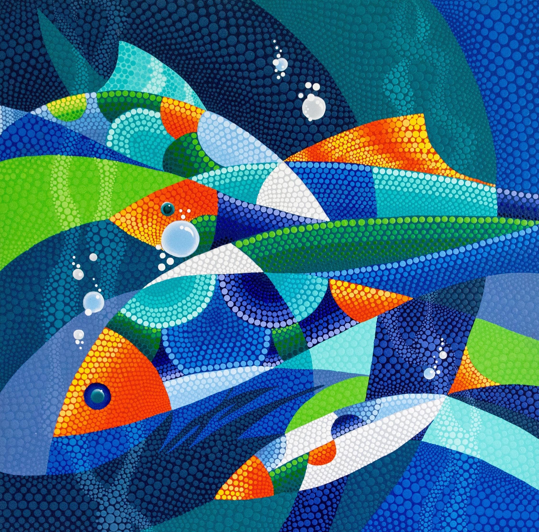 Angee Ferrin   Marine World  Acrylic on Canvas 28 x 28