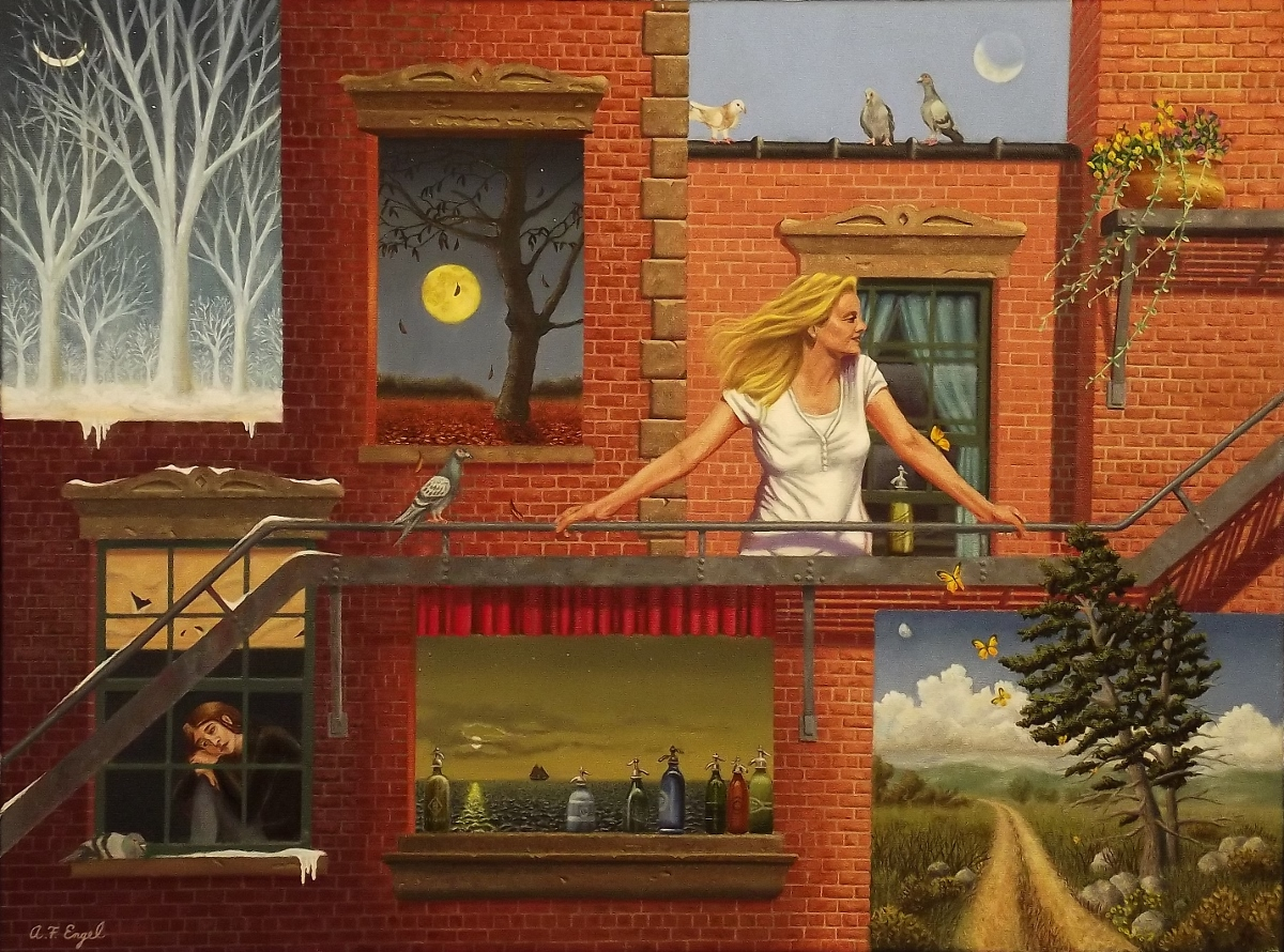 Andrew Engel   The Seasons From My Building  Oil on Canvas 18 x 24