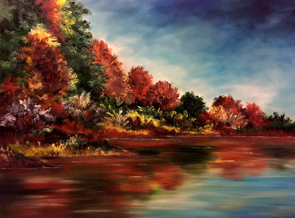 Amal Rashed   Fall Colors  Oil on Canvas 18 x 24