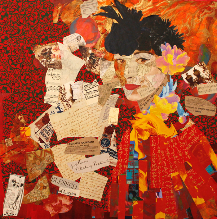 Leah Dockrill   A Woman Of Influence  Mixed Media Collage 30 x 30