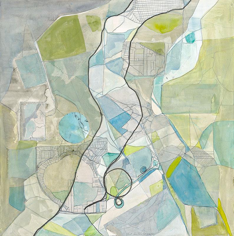Rosemary Lee   Interchange  Watercolor 23 x 23