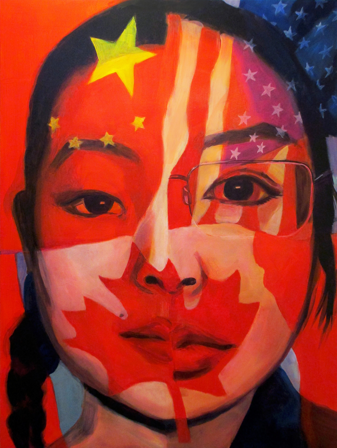 Fangjun (Rosemary) Ye - Honorable MentionRosemary Ye is an artist who graduated from the San Francisco Art Institute with a BFA in painting. As someone who rarely does self-portraiture, she wanted to create a painting where it is much of a reflection on herself, where she came from and how the countries she reside in shape her cultural identity. She was born in China, moved to Canada with her parents when she was 4 years old and lived there until the start of her undergraduate degree. Rosemary has since then lived on both east and west coasts of the United States and studied abroad in France and Japan. Her main artwork explores various perspectives of contemporary celebrity culture through portraiture and is prominently inspired by K-pop culture —which is part of the ongoing global phenomenon of the Korean Wave. Currently, she has several new series of artworks in progress.https://www.artist-rye.com/