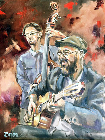 """STUDY FROM GYPSY JAZZ   OIL ON LINEN   16X12"""""""