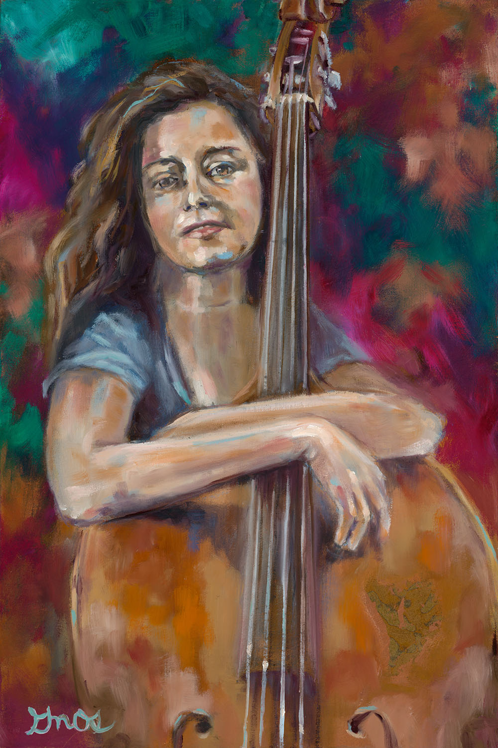 """SELF PORTRAIT WITH BASS   OIL ON CANVAS   16X12"""""""