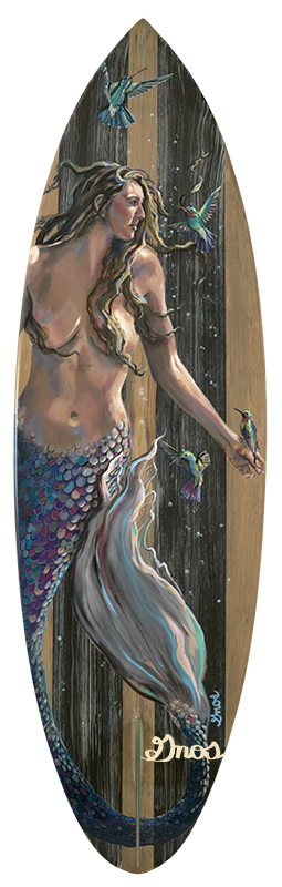 THE VISITORS | ACRYLIC AND RESIN ON FIBERGLASS SURFBOARD | 23X73""