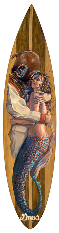 THE EMBRACE | ACRYLIC AND RESIN ON FIBERGLASS SURFBOARD | 72X20""