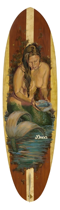ABALONE MERMAID| ACRYLIC AND RESIN ON FIBERGLASS SURFBOARD | 72X23""