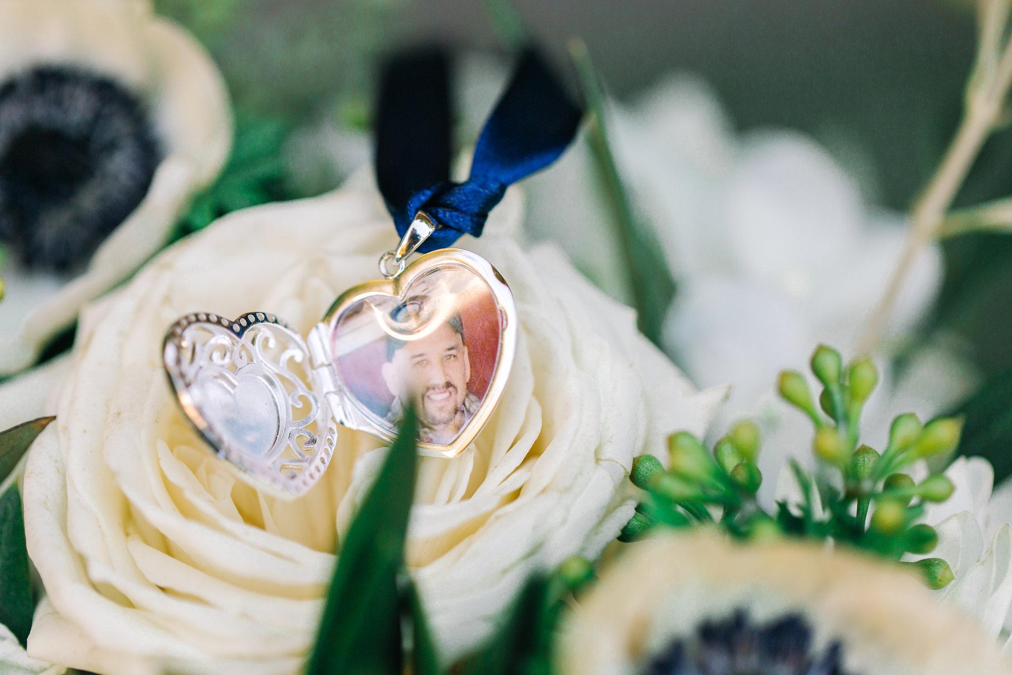 San Clemente, San clemente beach wedding, the casino san clemente, bridal bouquet anemone, memory gift, bride locket