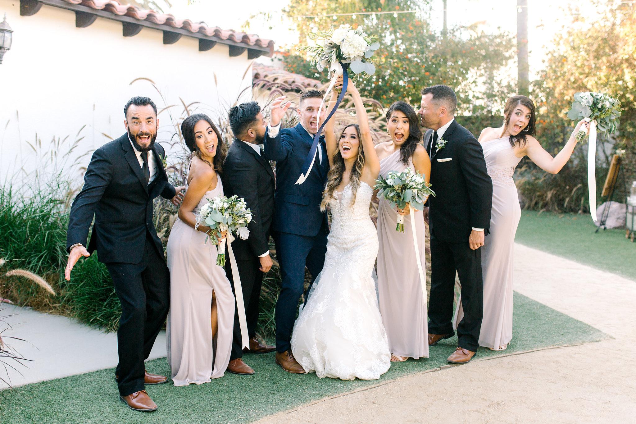 San Clemente, San clemente beach wedding, the casino san clemente, wedding party photos, bridal party photo ideas, fun wedding party, candid wedding party photo