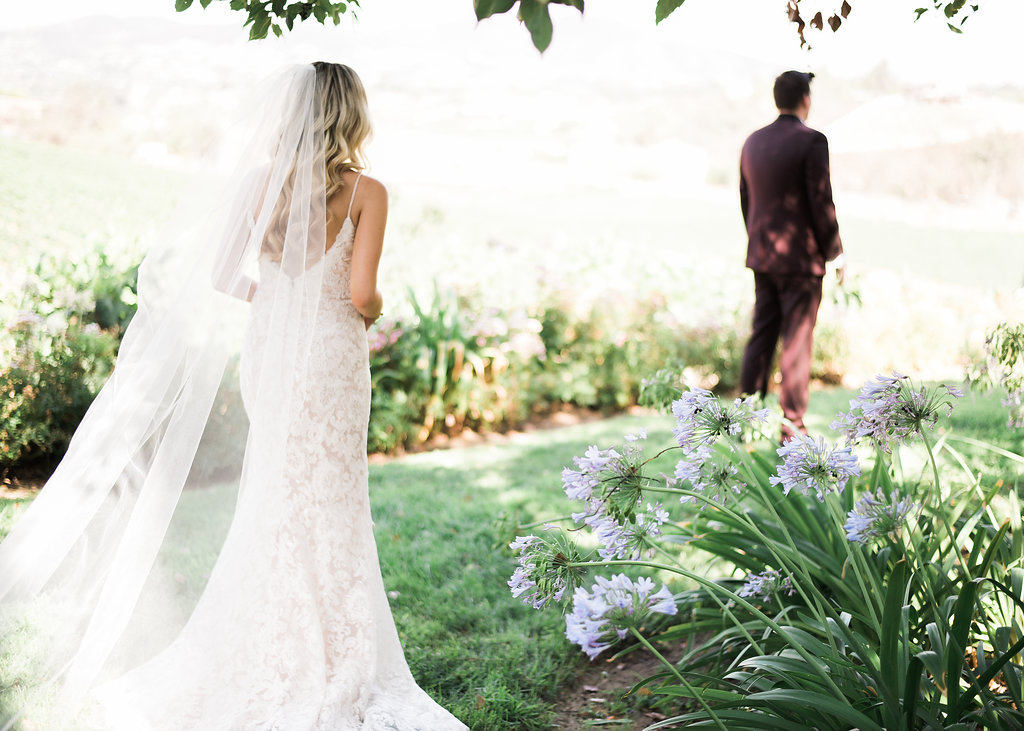 First Look Bride and Groom Trynh Photography South Coast Winery