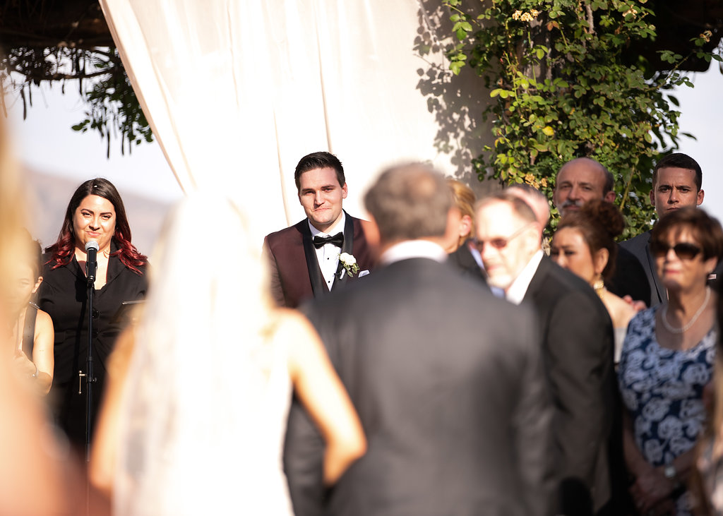 Groom Reaction to Bridal Entrance South Coast Winery