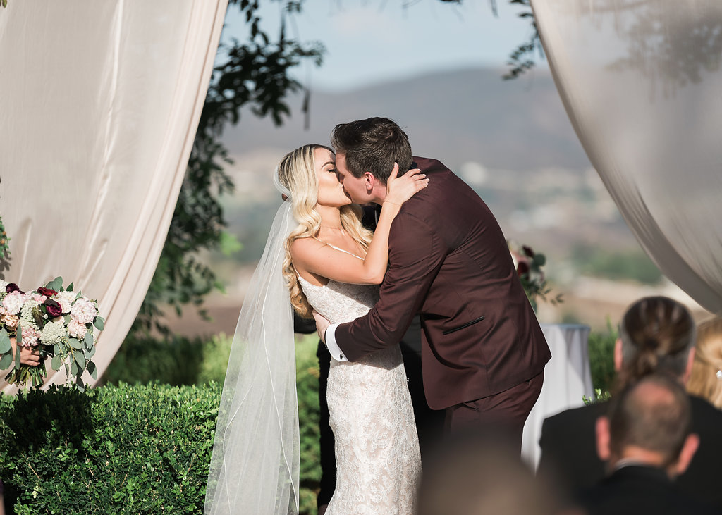 Wedding Ceremony Kiss Bride Groom Temecula Wedding