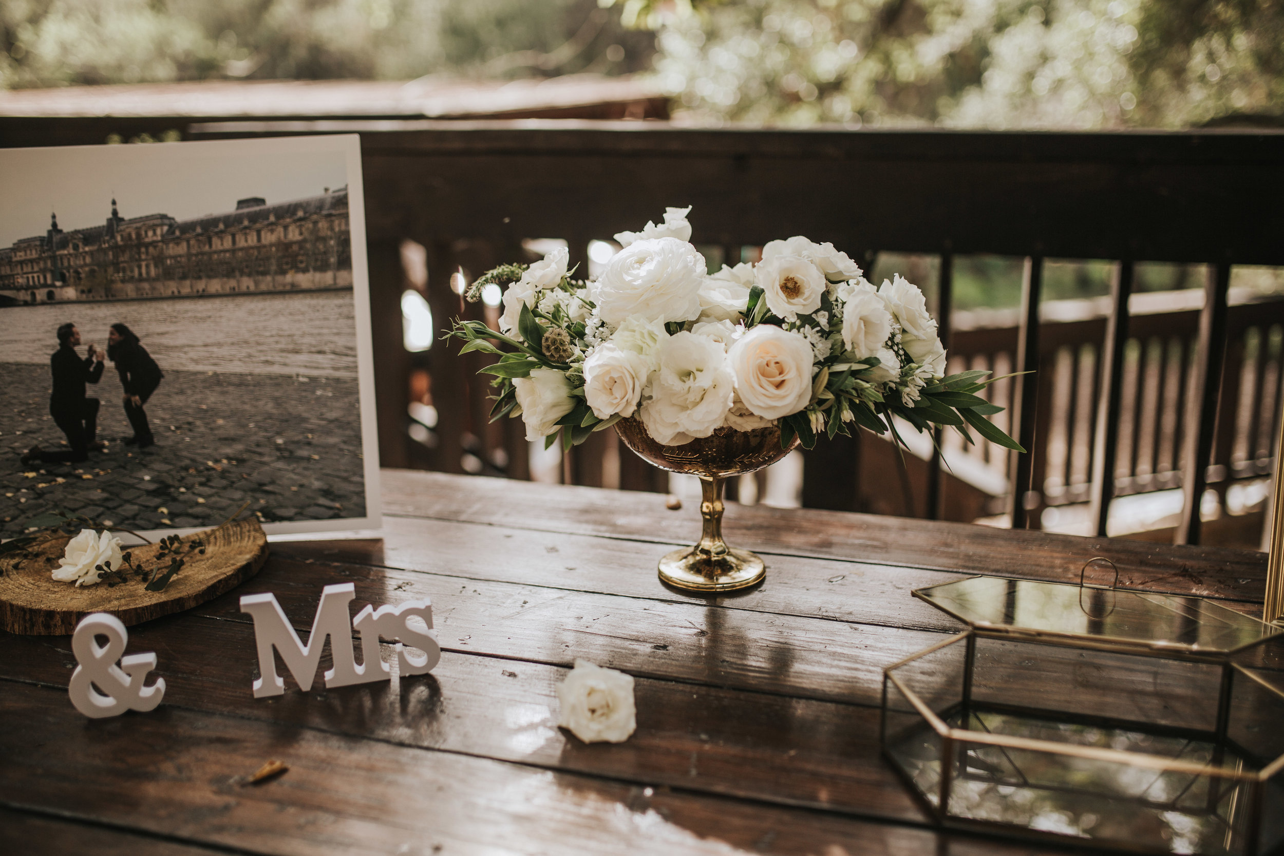 The 1909, The 1909 Wedding, Topanga Canyon Wedding, white peony bridal bouquet, eucalyptus bridal bouquet, white spray rose bouquet, welcome table arrangement, gold minimalist floral arrangement