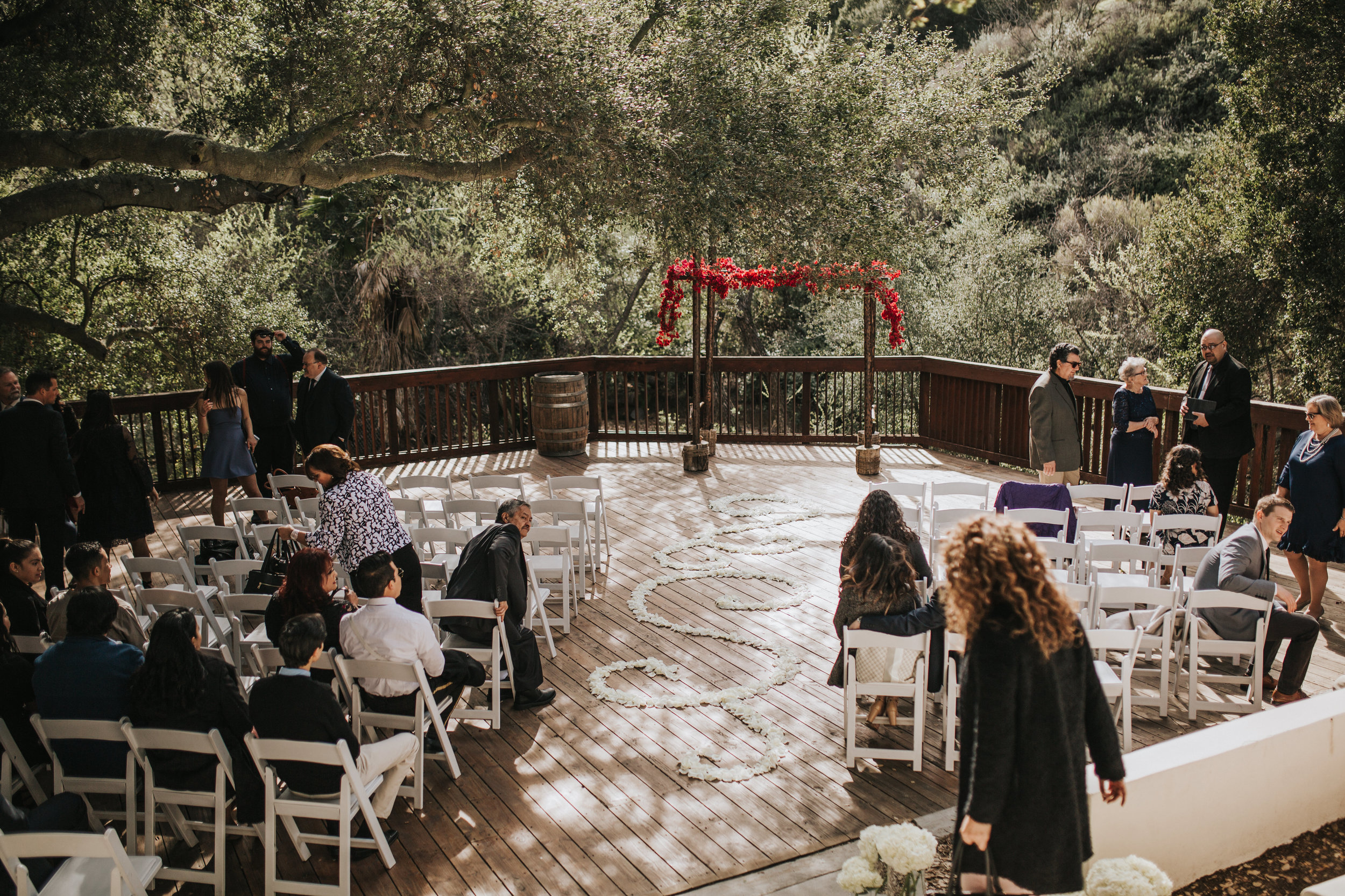 The 1909, The 1909 Wedding, Topanga Canyon Wedding, pink bougainvillea arch, white rose petal aisle design, rose petal design