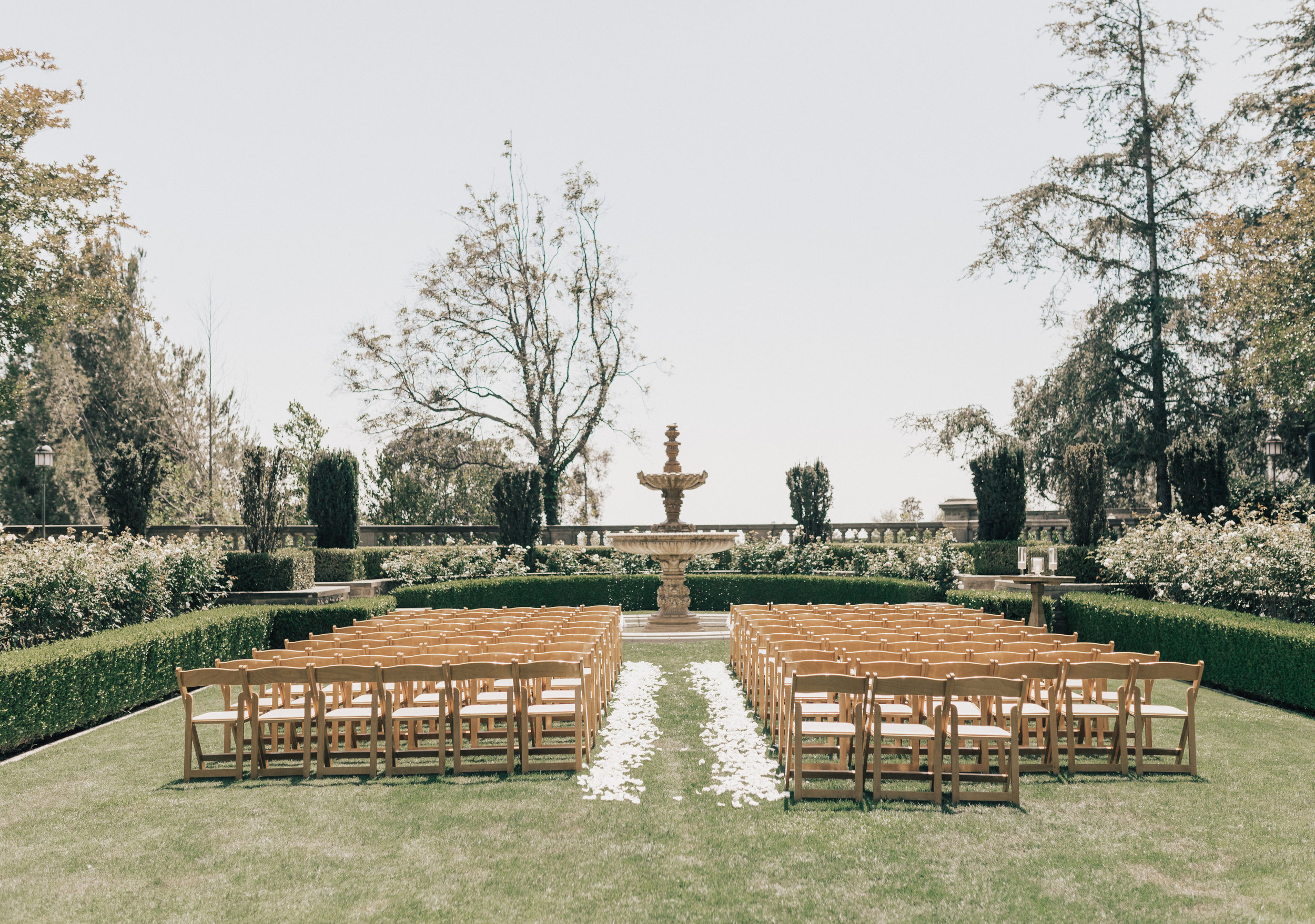 Greystone Mansion, Greystone Mansion Beverly Hills, Beverly Hills Wedding, California Estate Wedding, simple rose petal aisle design