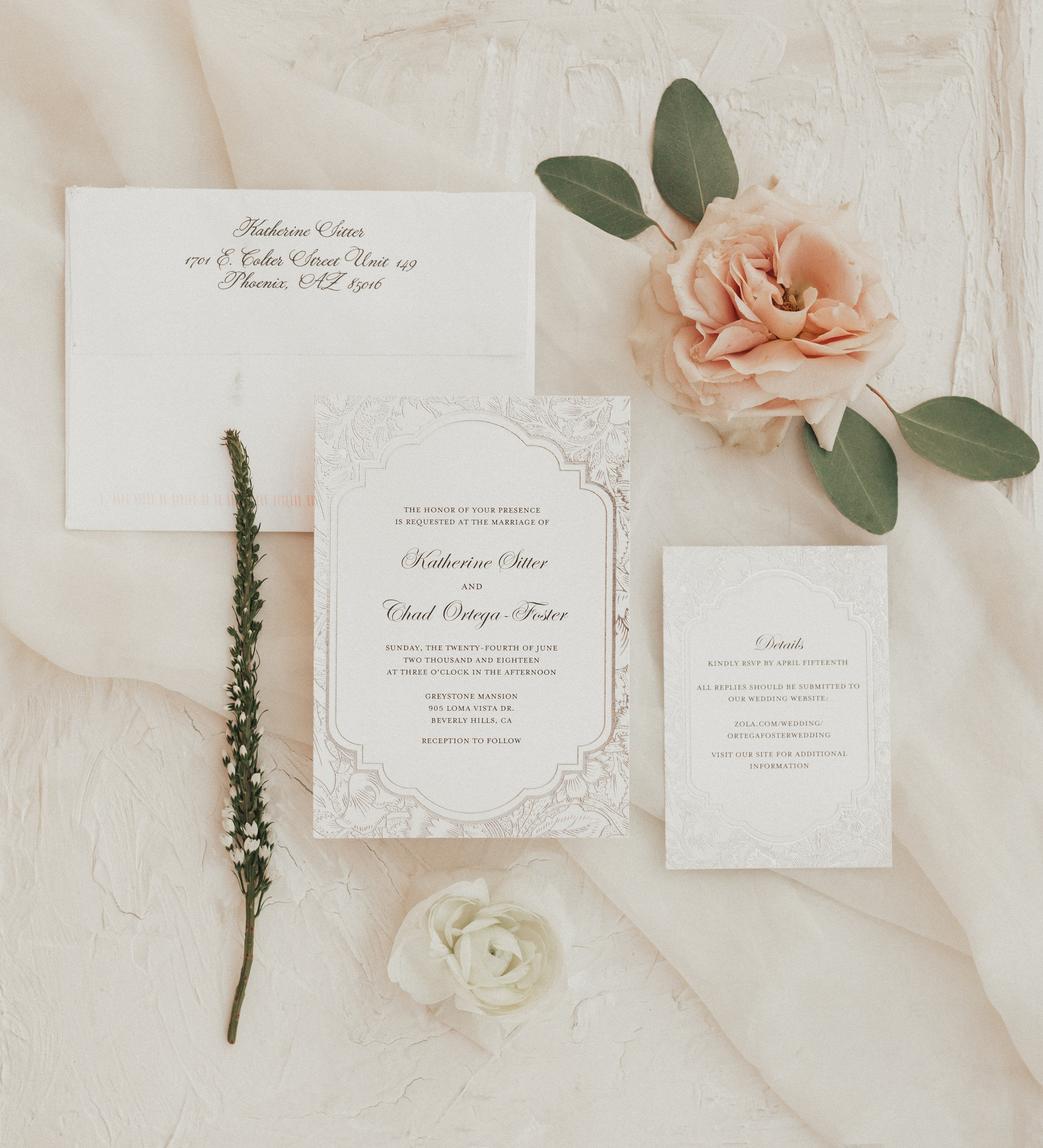 simple, elegant, white invitation suite, white ranunculus flat lay