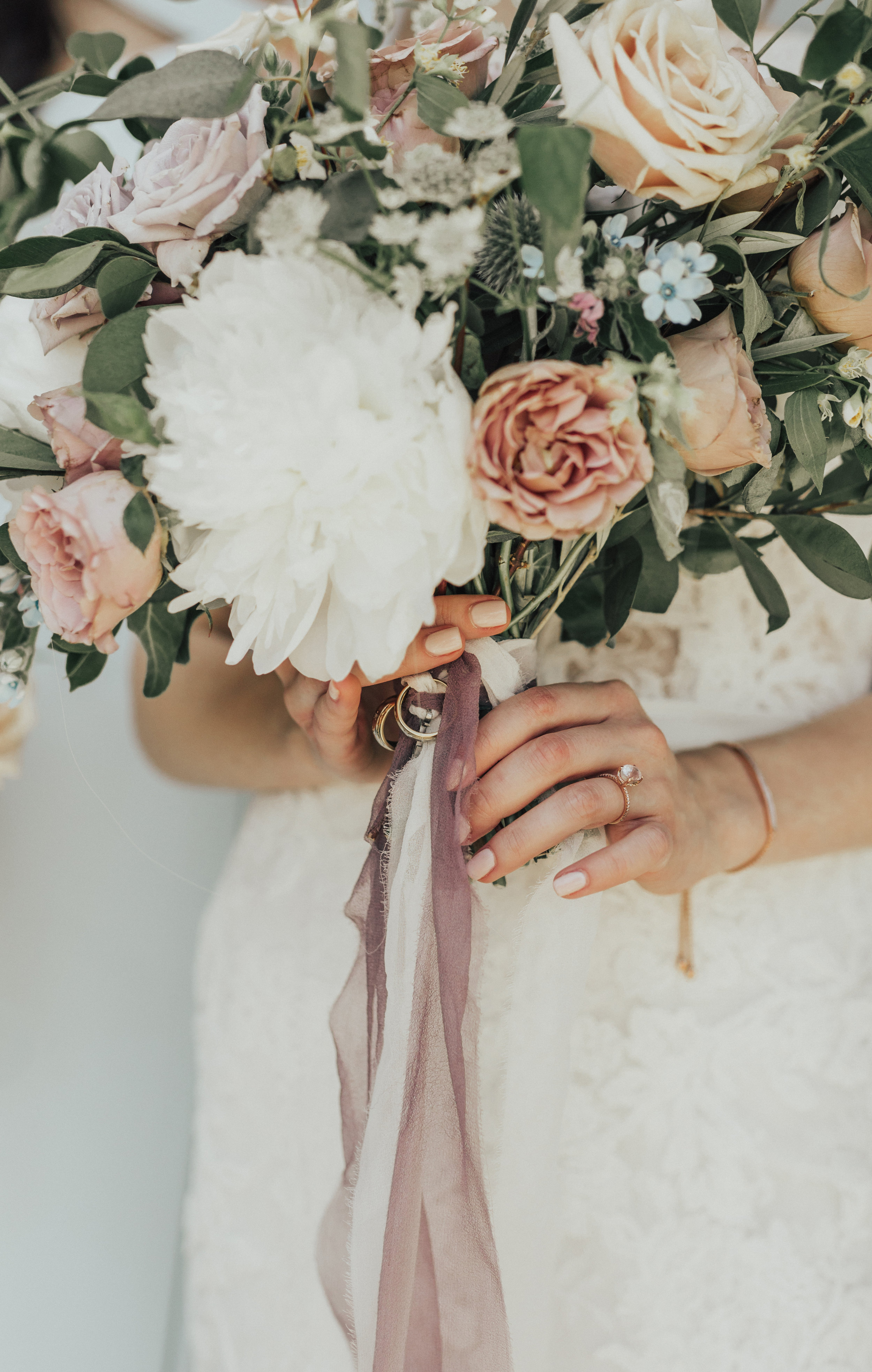 Greystone Mansion, Greystone Mansion Beverly Hills, Beverly Hills Wedding, California Estate Wedding, mauve bridal bouquet, white peony bridal bouquet, mauve silk ribbon, lavender bridal bouquet