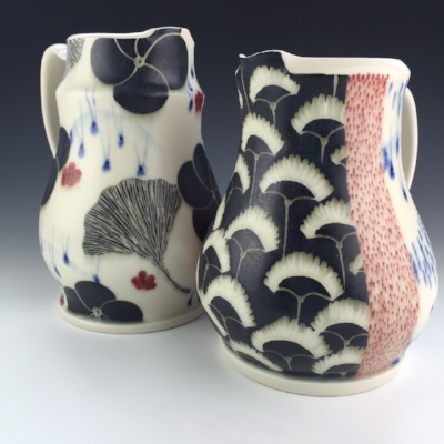 Gingko & Floral Pitchers by Kristen Swanson