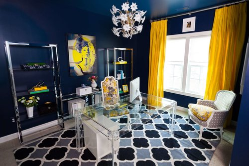 This glam home office    we designed in Loudoun County, VA    looks A.B.S… Anything But Staged!