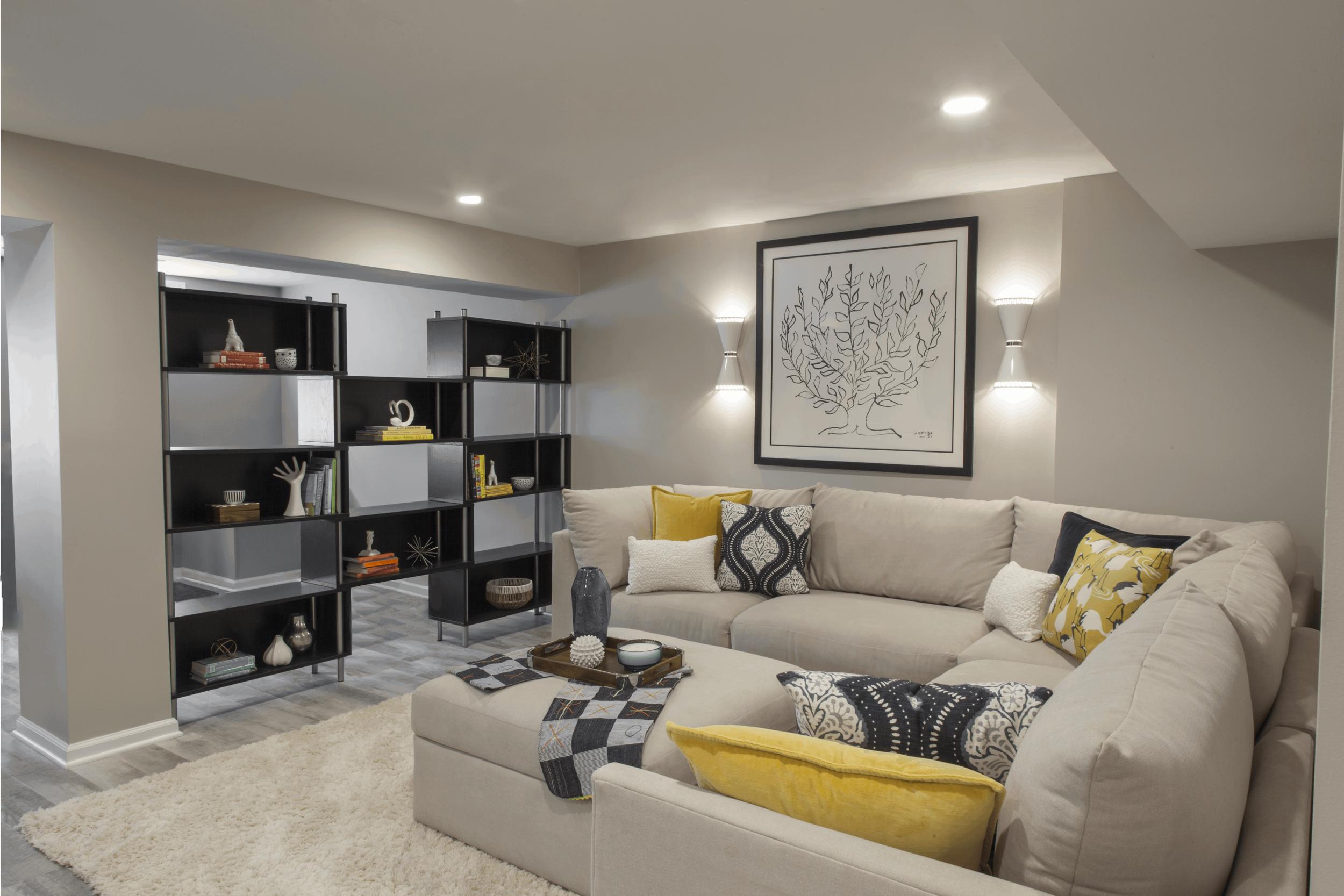 Elegant Basement Living Room & Bath -