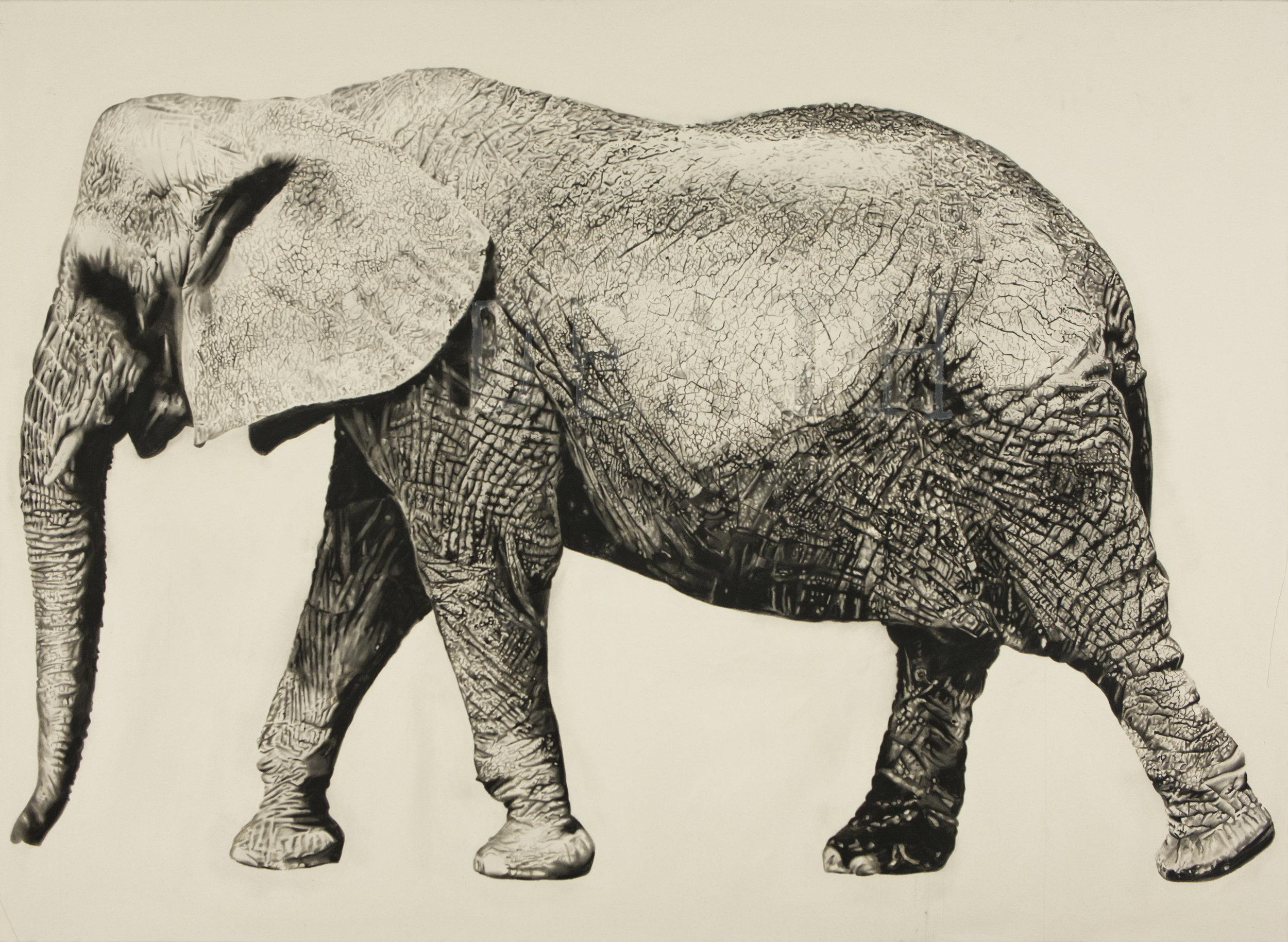 Hunger world (death-eat), 2012. Huile et fusain sur toile. 78 x 108 pouces.