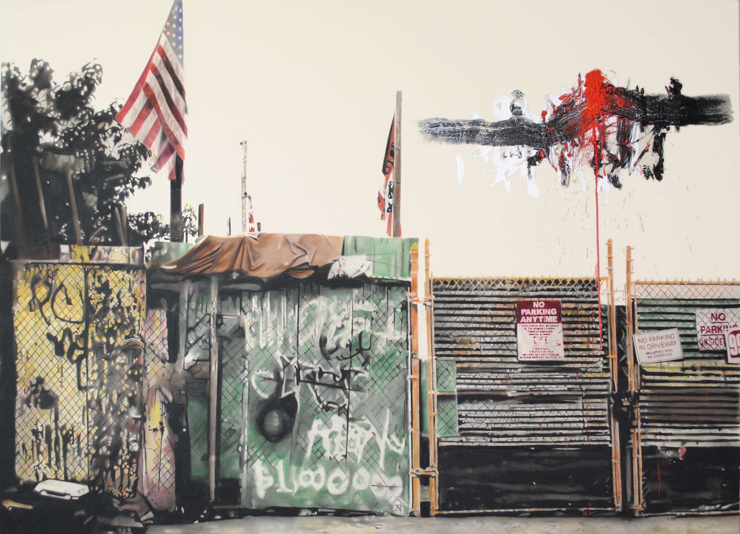 Milion dollar painting , 2012. Huile et fusain sur toile.