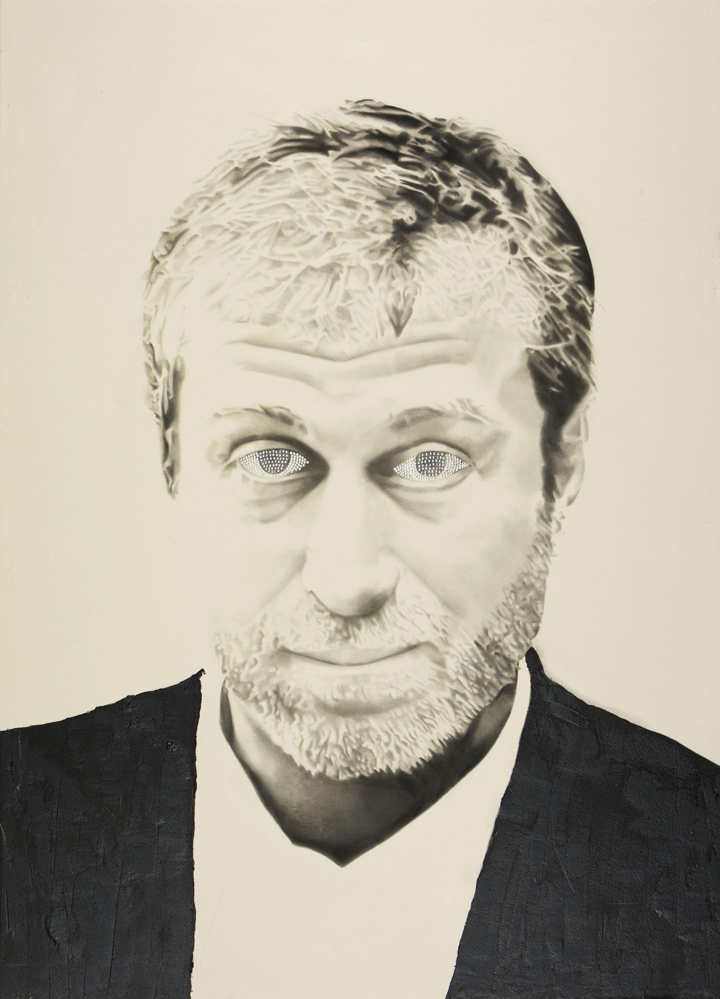 Roman Abramovich , 2012. Huile, fusain et faux diamants.