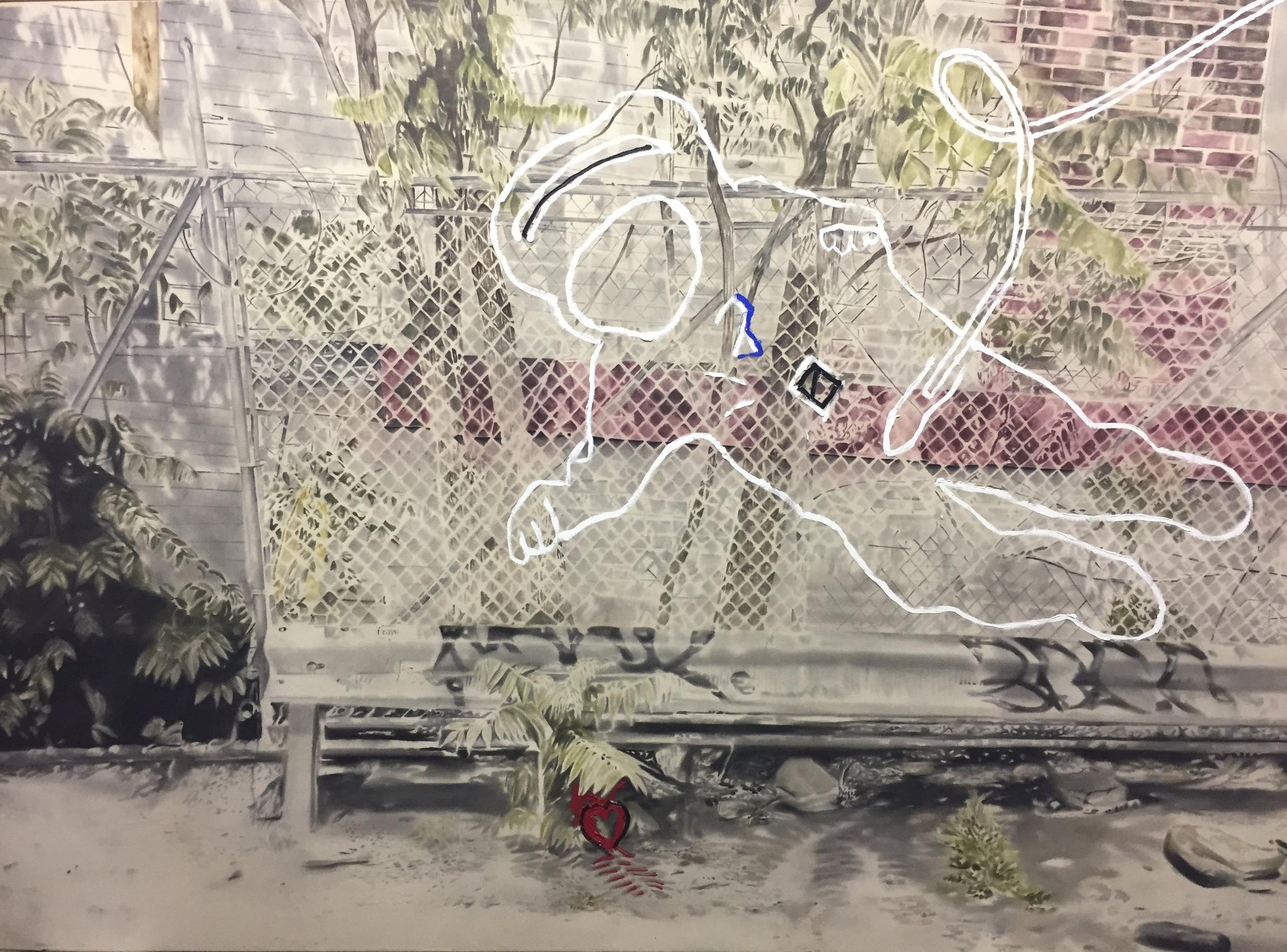 Astronaute sur Meserole no.1 ,2011-2012. Huile sur toile. 78 x 108 pouces.