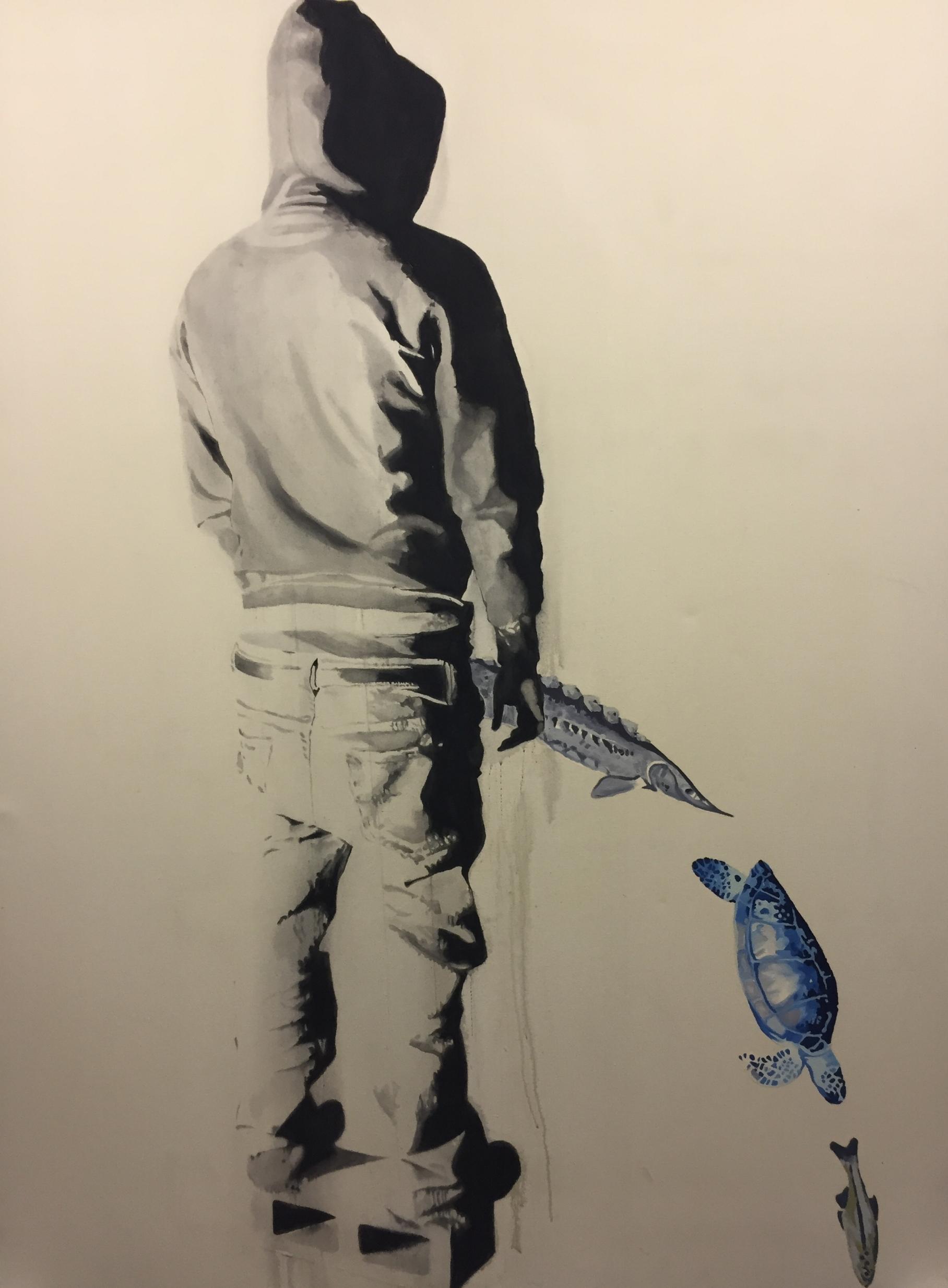 Endangered species . 2007.Huile et fusain sur toile.84 x 60 pouces.