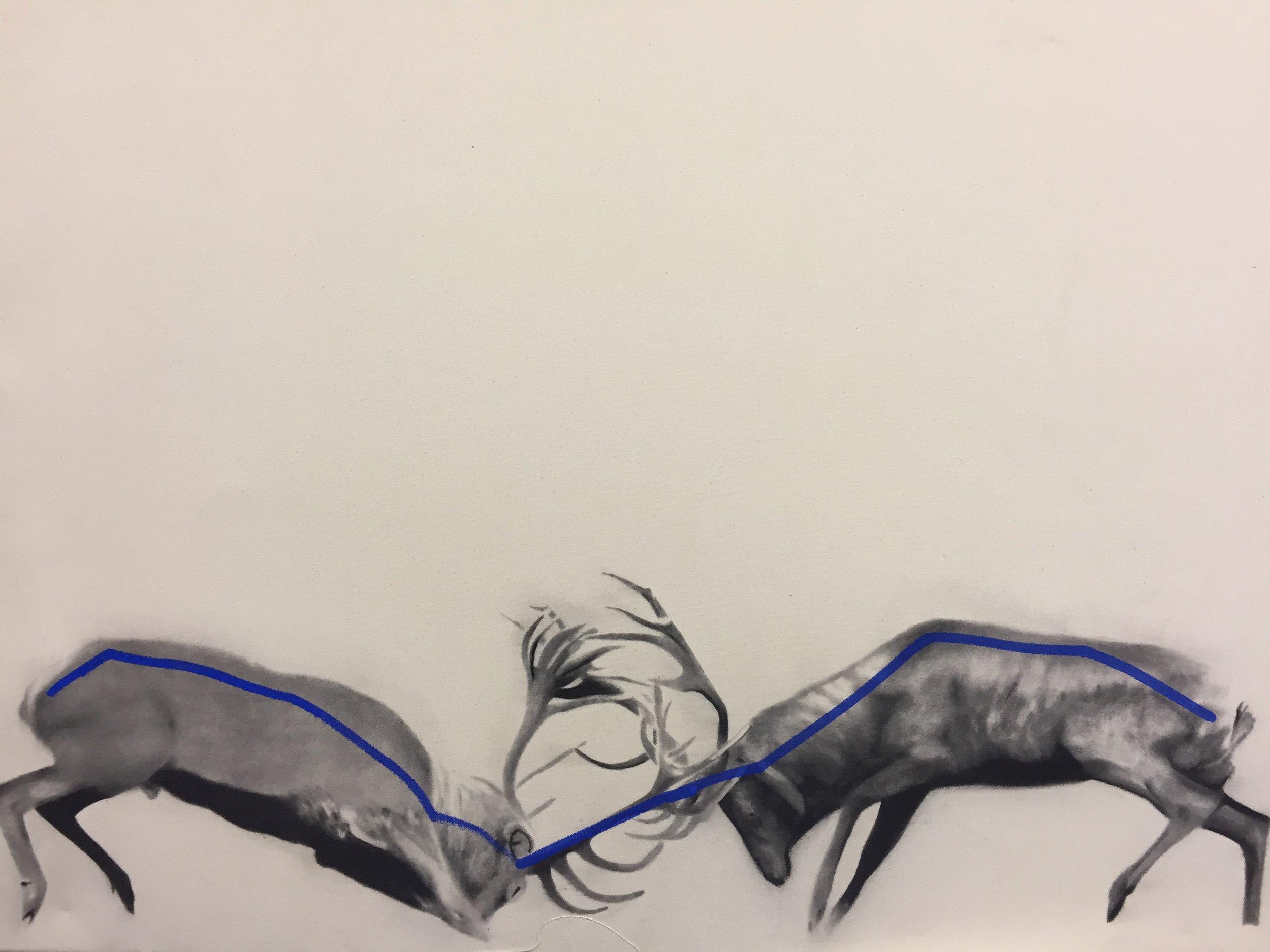 Study for Elks,  2015.Huile et fusain sur toile. 36 x 48 pouces.
