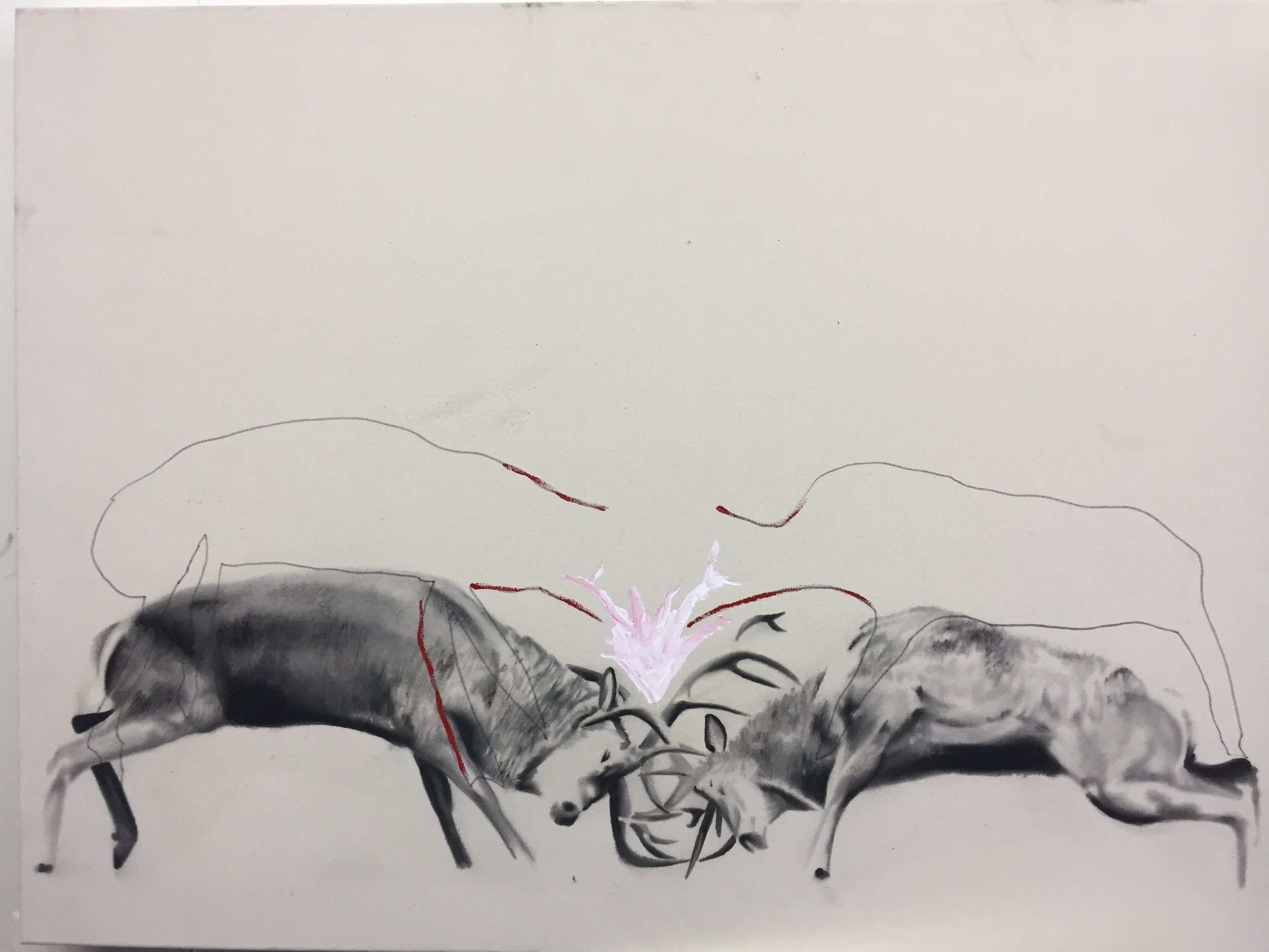 Study for stags , 2015.Huile sur toile. 36 x 48 pouces.
