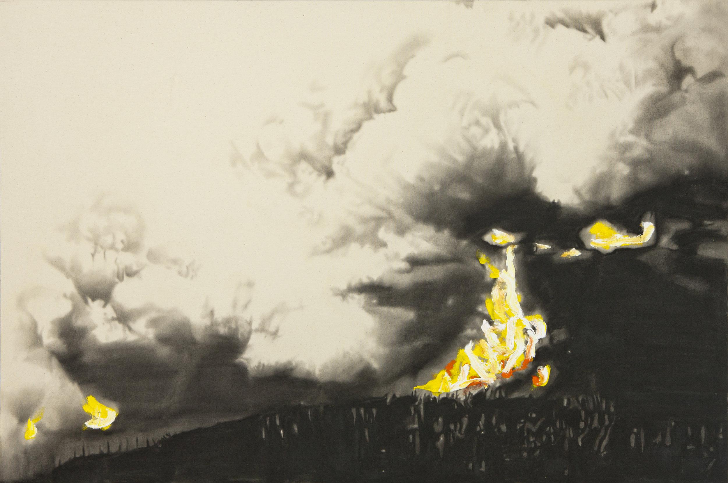 Biutiful wilderness ,2012. Huile et fusain sur toile. 48 x 72 pouces.
