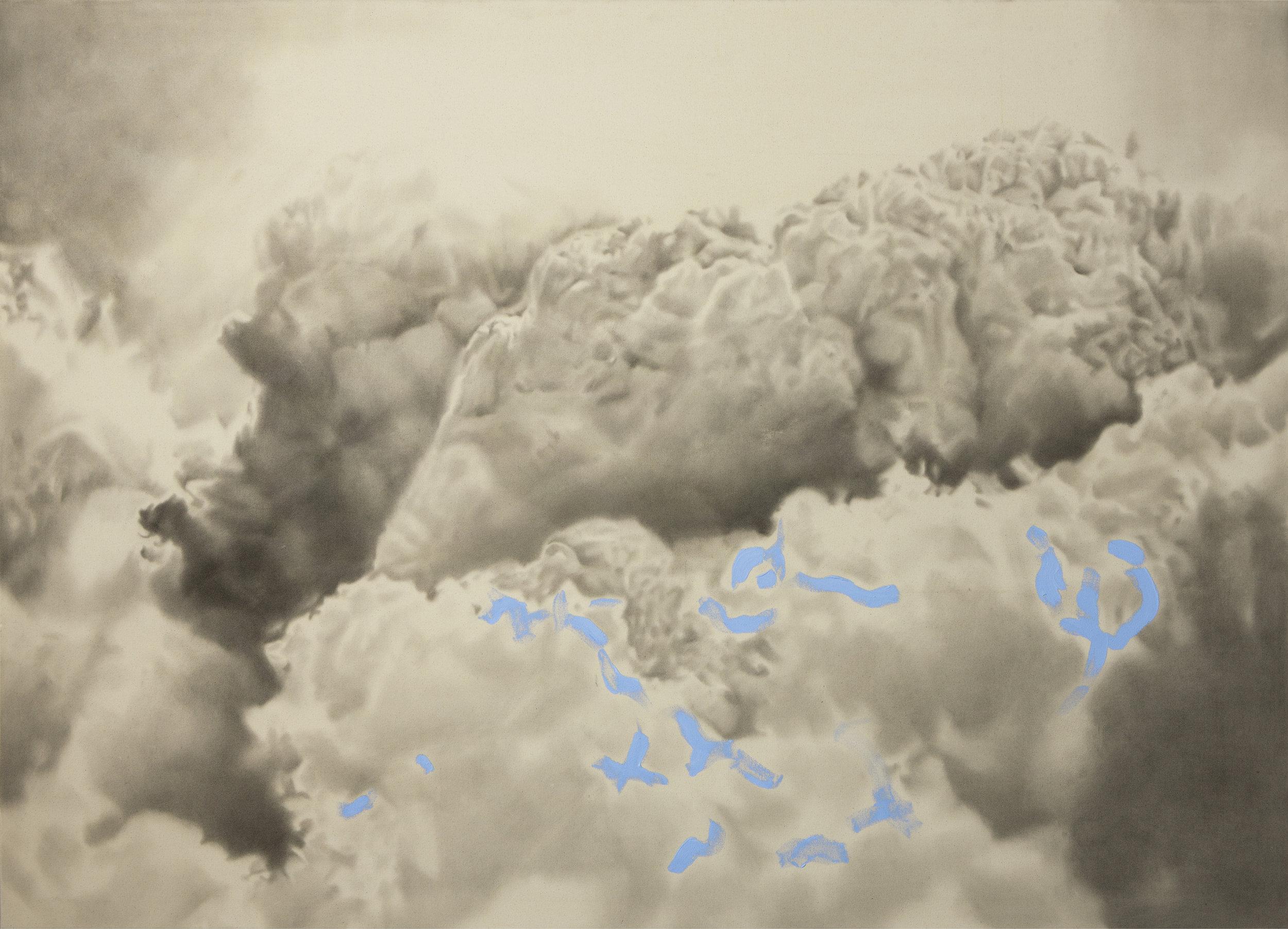 Biutiful smog . 2012. Huile et fusain sur toile. 60 x 84 pouces.