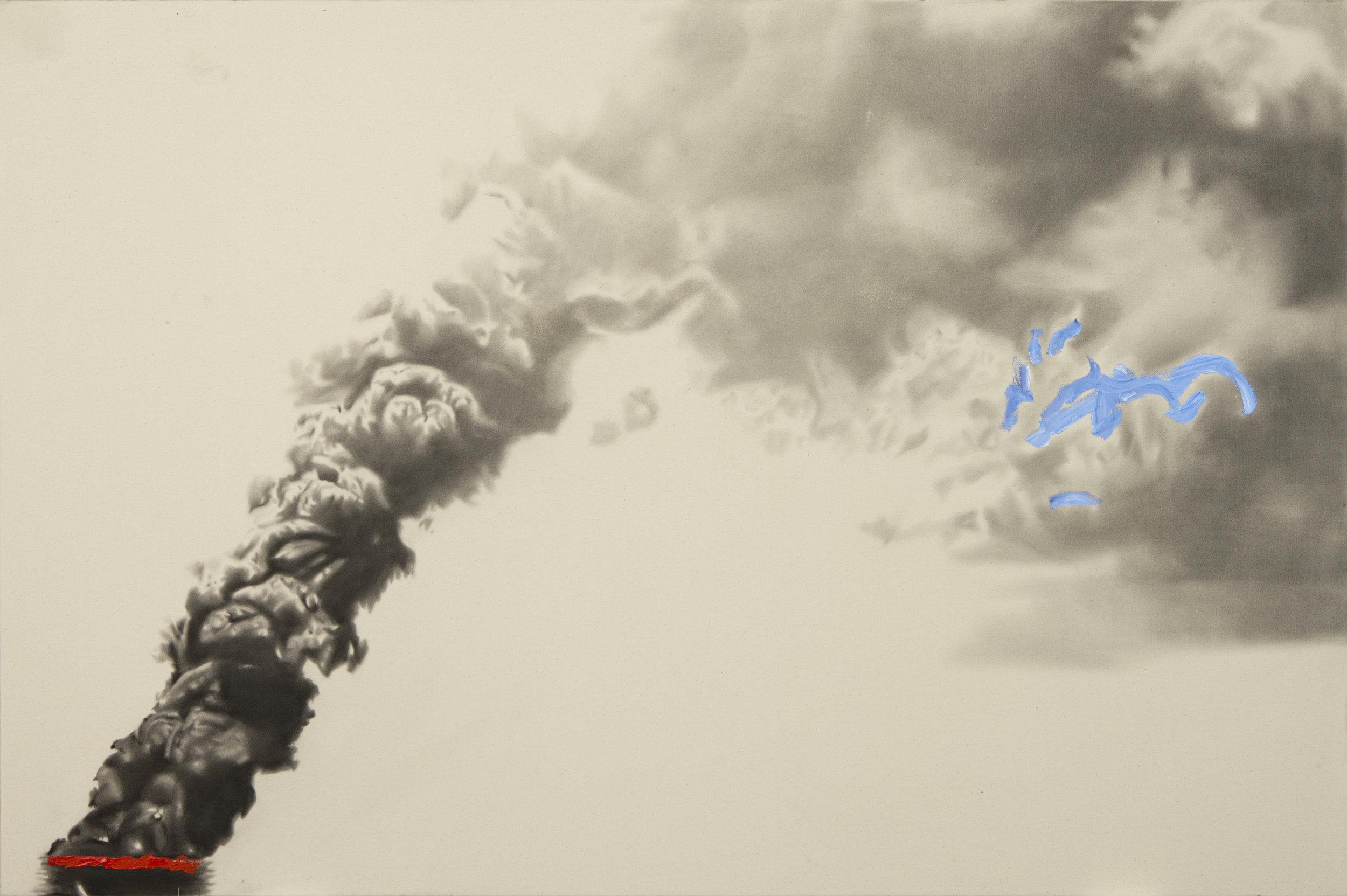 Biutiful sky oil ridge ,2012. Huile et fusain sur toile. 48 x 72 pouces.