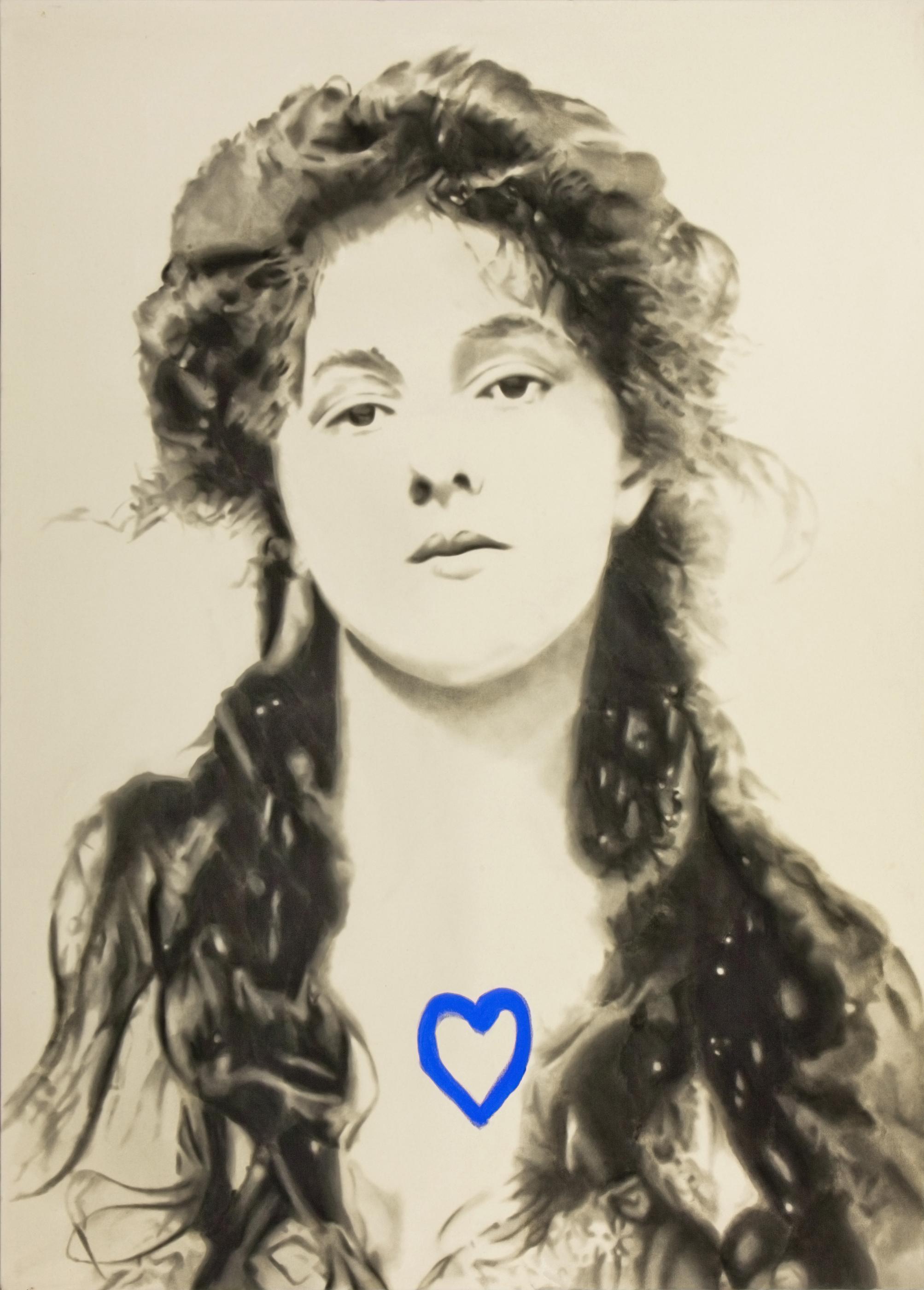 Portrait of Evelyn Nesbitt. 2012. Huile et fusain sur toile. 108 x 78 pouces.