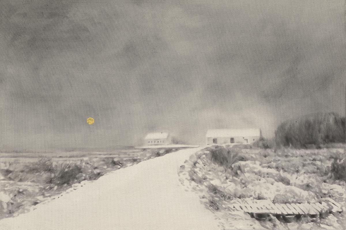 Prairies Hautes, 2012. Huile, fusain et feuille d'or sur toile. 24 x 36 pouces