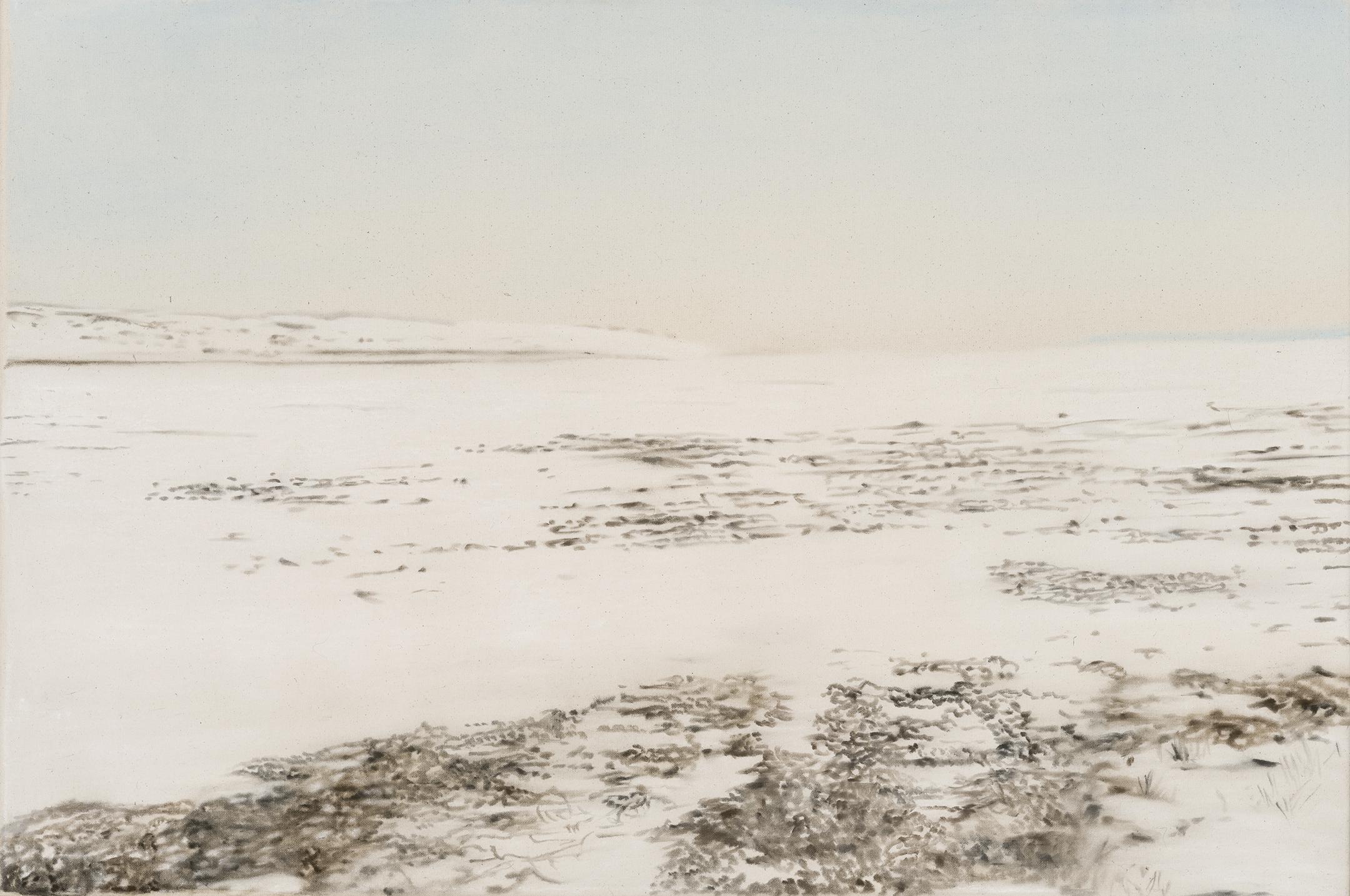 Paysage nordique 16 , 2016. Huile et fusain sur toile, 24 x 36 pouces