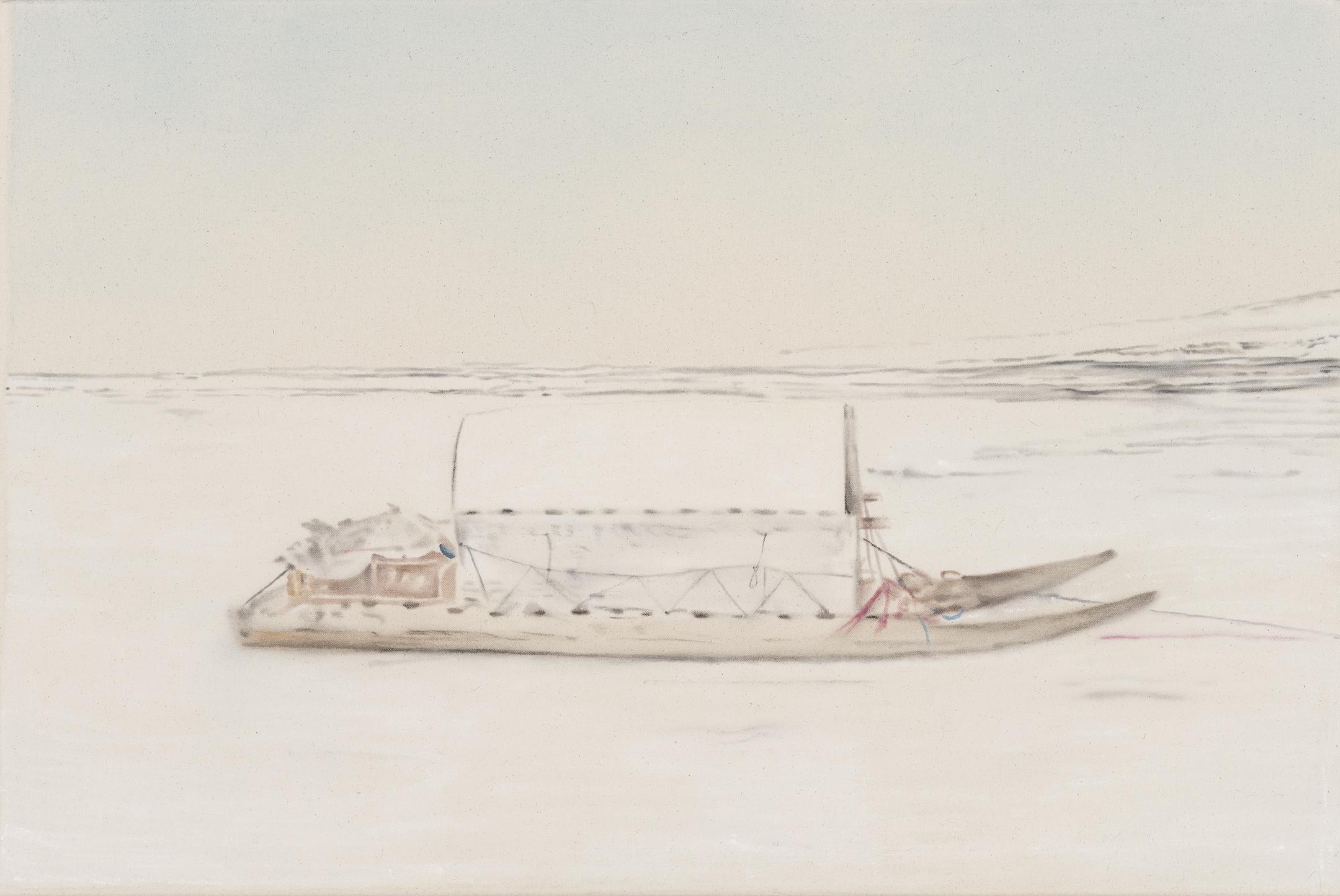 Paysage nordique 17 , 2016. Huile et fusain sur toile, 24 x 36 pouces