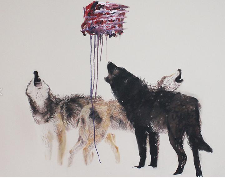 Loups ,2013.Huile sur toile,60 x 84 pouces.